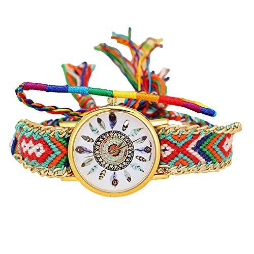 SONGAI Creative Quartz Wrist Watch Colorful Feather Pattern Braided Rope Bracelet for Women Gift E,Colour:C Bracelets Earrings Rings Necklaces (Color : E)