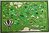 BuyElegant Green Little World Maps Alfombras de área Alfombra de poliéster Alfombra de Juego Educativo súper Absorbente 120 x 80 cm