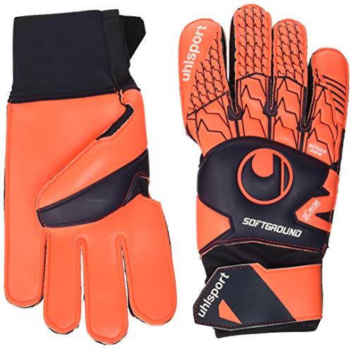 uhlsport Torwarthandschuhe Next Level - Soft Pro - In den Größen 5-12 Innenhand, Keeper-Handschuhe entwickelt mit Profis-Optimaler Halt und Grip, in Kindergrößen verfügbar, Marine/Fluo rot, 6