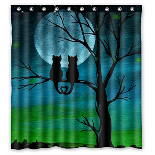 FMSHPON Couple Cute Cat Unique Design Waterproof Polyester Fabric Shower Curtain 66 x 72 Inches