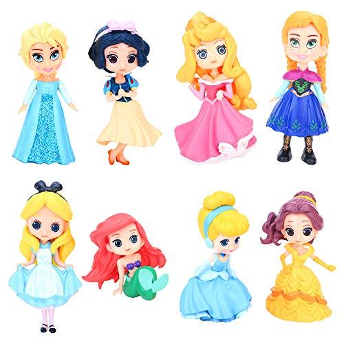 8pcs Mini figuras de princesa, Cupcake Toppers, decoración de pastel de princesa de cumpleaños, modelo de muñeca de princesa para niños, decoración de fiesta de bienvenida al bebé de cumpleaños