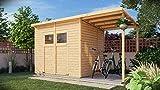 Alpholz Gerätehaus Mollie Plus aus Fichten-Holz | Gartenhaus mit 14mm Wandstärke | Holzhaus inklusive Montagematerial | Geräteschuppen Größe: 415 x 199 cm | Pultdach