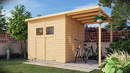 Alpholz Gerätehaus Mollie Plus aus Fichten-Holz   Gartenhaus mit 14mm Wandstärke   Holzhaus inklusive Montagematerial   Geräteschuppen Größe: 415 x 199 cm   Pultdach