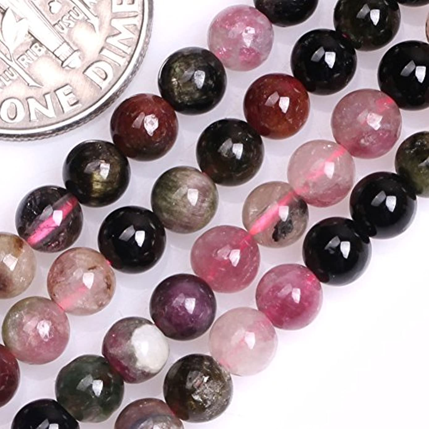 GEM-inside Tourmaline Gemstone Loose Beads Natural 4mm Round Energy Stone Power Beads For Jewelry Making 15