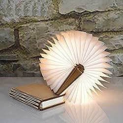 YAOJU Hölzerne faltende Buch-Lampe, Dekorative Lampe, Magnetisches LED-Licht, Tabelle/Schreibtisch-Lampe mit Akku 2000 mAh,Papier mit USB-Kabel,Ideal für Geschenk((12 x 9 x 2,5 cm)