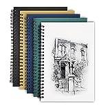 Touchbool 4er-Pack Notizbuch A5 Spirale Notizblock blanko Notizbücher, 100GSM, 100 Seiten, Ideal als Bullet Journal, Skizzenheft/Skizzenbuch, Tagebuch, Notizheft