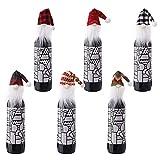 6 paquetes de fundas para botellas de vino navideñas Bolsas de fieltro gnomos navideños para decoración de botellas de vino, cubierta para botella de vino, suéter, botella, vestido, gorra, juego