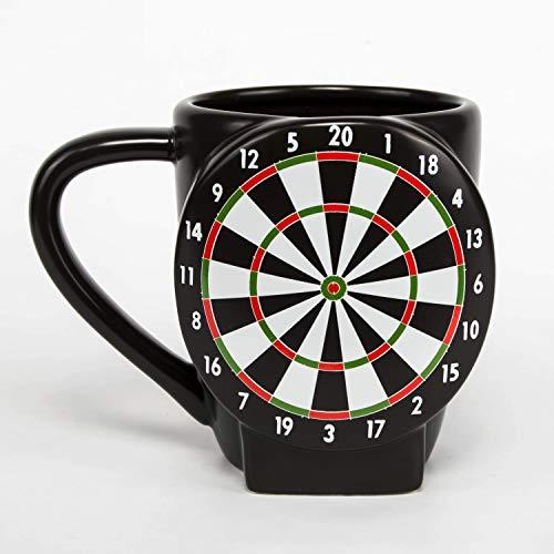 el & groove 3D Steel Dart Tasse in schwarz, Kaffeetasse 400 ml, Tee-Tasse groß aus Porzellan Dartscheibe Flight Dartscheibe Dartautomat Softdart 180 Dart WM Deko Geschenk für Männer Weihnacht