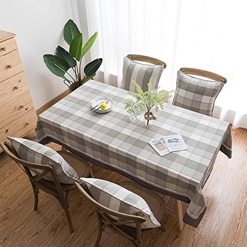 GTWOZNB Plastic Tablecloths Table Covers for Indoor or Outdoor Parties Birthdays Weddings Linen solid color waterproof plaid-Light gray_130*200cm