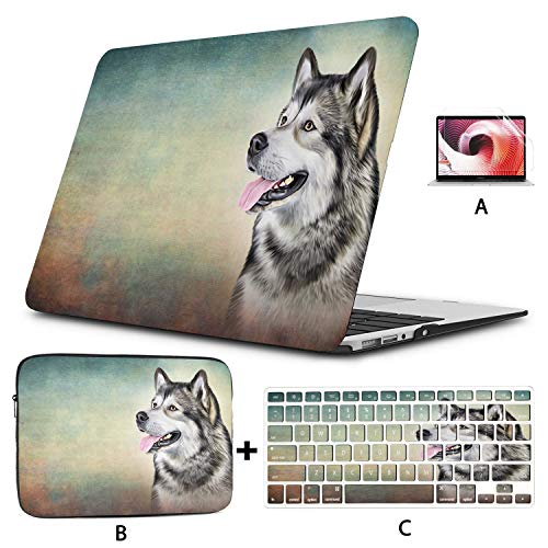MacBook Pro Accessories Drawing Dog Alaskan Malamute Portrait Oil Laptop Cover Hard Shell Mac Air 11'/13' Pro 13'/15'/16' with Notebook Sleeve Bag for MacBook 2008-2020 Version