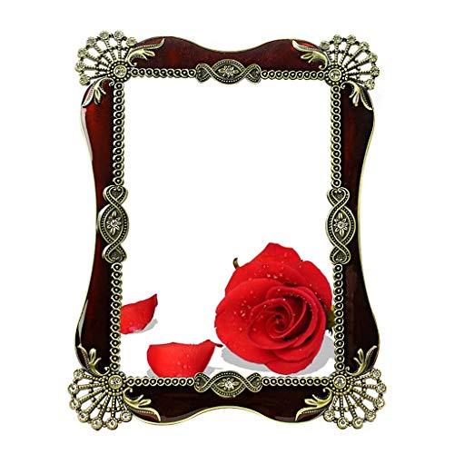 Style européen Maquillage Miroir Alliage D'étain Matériel Loupe Grand Miroir Sculpté À La Main 7 Pouce Rétro Chambre Bureau Miroir De Bureau