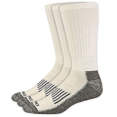 Dickies Men's Big & Tall Big and Tall Heavyweight Cushion Compression Work Crew Socks, White (3 Pairs), Shoe Size: 12-15