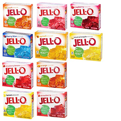 Jell-O Desserts Gelatine - Sortiment von 10 fruchtigen Aromen