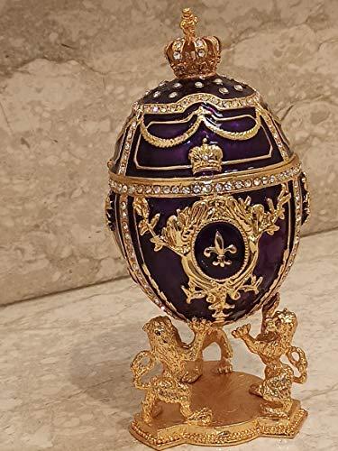 Caja de joyería de lujo grande Faberge para mamá de hija hecha a mano caja de regalo para mujeres Swarovski Diamond Handset Lion Trinkets Imperial Regalos Cumpleaños Aniversario Regalo para