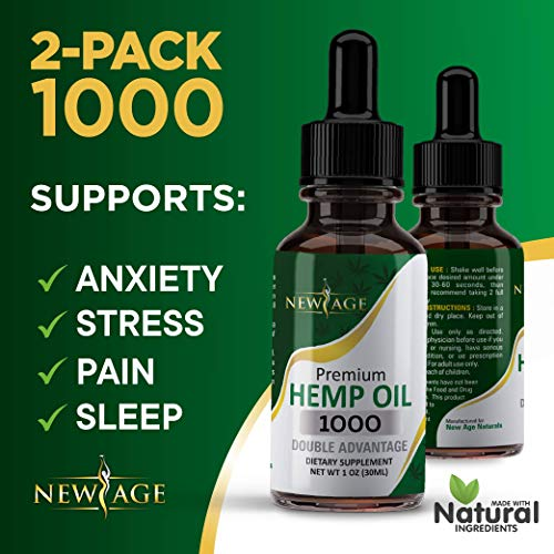 (2-Pack) Hemp Oil Extract for Pain & Stress Relief - 1000mg of Organic Hemp Extract - Grown & Made in USA - 100% Natural Hemp Drops - Helps with Sleep, Skin & Hair