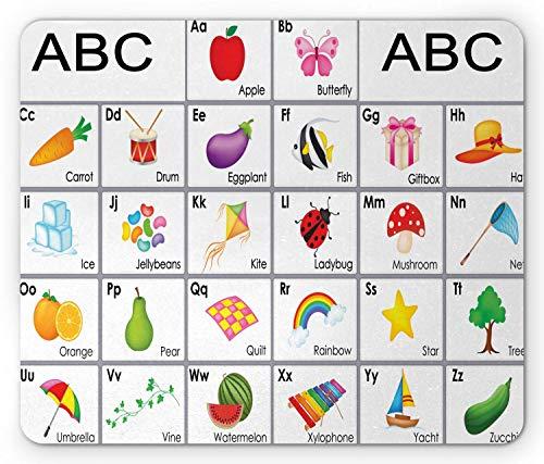 Yzbedset Alphabet Mauspad, pädagogische Themenquadrate mit Buchstaben Tiere und Gemüse Kindergarten Zusammensetzung, Rechteck rutschfeste Gummi Mauspad, Standardgröße, lila gelb