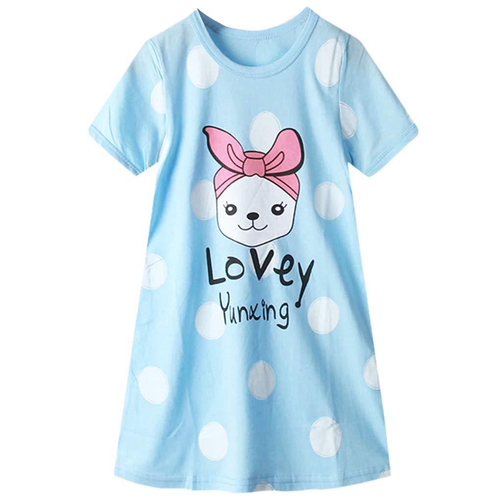 M/ädchen Nachthemd 100/% Baumwolle Nachthemden Kleid Kurze /Ärmel Nachtw/äsche Frauen Schlafanzug Eltern-Kind Pyjama 110cm