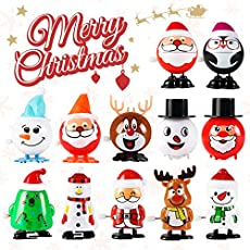 12 Pack Wind Up Toys for Kids, Assorted Novelty Jumping and Walking Clockwork Toys for Party, Favors Gift Goody Bag Filler Stocking Stuffers and Fun Decoration