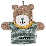 Sterntaler Spiel-Waschhandschuh mit Namen bestickt, Waschlappen für Kinder & Babys personalisiert,...