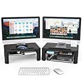 2 Pack Adjustable Monitor Stand Riser - 3 Height Adjustable Computer Monitor Riser with Storage Drawer, Phone Holder for Desk, iMac, Laptop, Printer, Notebook, Computer - for Home & Office Use, Black