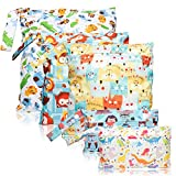 5Pcs Waterproof Reusable Wet Bag Diaper Baby Cloth Diaper Wet Dry Bags with 2 Zippered Pockets Travel Beach Pool Bag with Dinosaur Animal Zoo Owl Cat Pattern (3 Sizes)