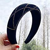 B/H Pelo Anchas Lisas Diademas para Mujer y Niña,Korean Velvet Beaded Sponge Solid Color Hair Band Multicolor Wide Brim Ladies Headband-Black,Nudo Cruzado Diadema Ancho