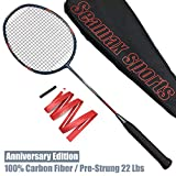 Seamax 100% Japan Carbon Fiber Badminton Racket, with Bag and Grip, Strung 22Lbs, Max 30Lbs, 2 Color to Choose