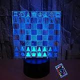 Ilusión óptica 3D Ajedrez Luz de Noche 16 Colores que Cambian Control Remoto USB Poder Touch Switch Decor Lámpara LED Mesa Lámpara Niños Juguetes Cumpleaños Navidad Regalo