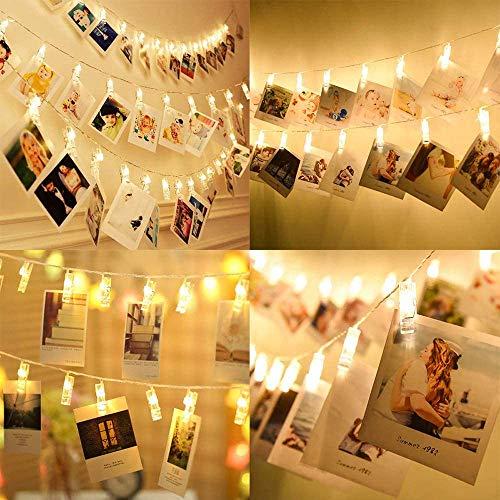 Luci Per Foto, 3M 20LED Catena Luminosa Portafoto Con Mollette Luci Led Foto Clip Filo Per Camera,Esterni,Regali,Interni,Matrimonio,Anniversario,Sorprese,Feste,Ricorrenze