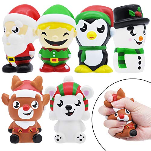 JOYIN 6 Pack Christmas Themed Squishy Toys Slow Rising Stress Relief Super Soft Squeeze Kawaii Cute Christmas Friends Characters Toys for Boys Girls
