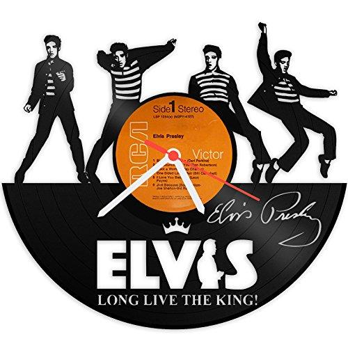 GRAVURZEILE Wanduhr aus Vinyl Schallplattenuhr Elvis Presley Upcycling Design Uhr Wand-Deko Vintage-Uhr Wand-Dekoration Retro-Uhr Made in Germany