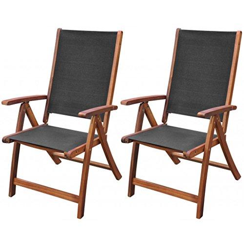 Festnight 2 STK. Klappstühle Gartenstühle Bistrostuhl Balkonstuhl Terrasse Stuhl Verstellbare Rückenlehne aus Akazienholz und Textilene Klappbar Stuhl-Set Stühle Schwarz