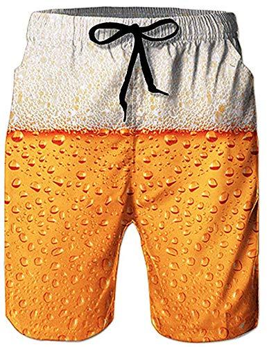 Loveternal Bier Badehose 3D Duck Badehose für Herren Kurze Schnelltrocknend Hawaii Badehosen Gelb XXL