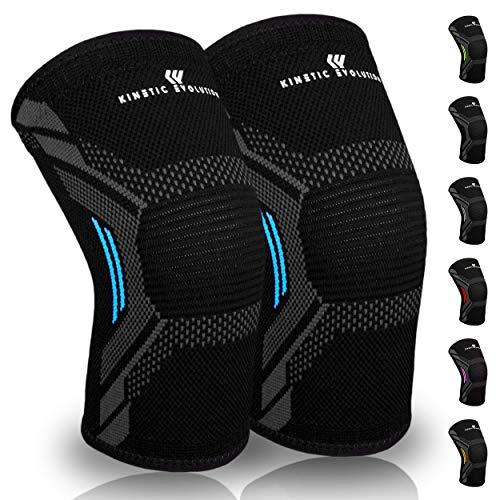 Kinetic Evolution Kniebandage, Sportbandage für Damen und Männer, rutschfest, Fitness, Fußball, Joggen, Volleyball, Laufen, Gymnastik (XL, Blau)