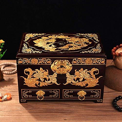 China Muebles Lacado Joyero Pintado a Mano Clásico Pintado a Mano de Madera Laca de luz Joyero/Estuche/Almacenamiento con Flores de Laca Dorada (Color : B)