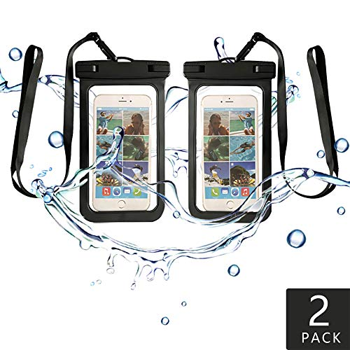 """Waterproof Phone Case 2 Pack for Smart phone Device to apple iPhone X, 8, 7, 6 Plus, SE, Samsung S9+ S8 S8+, 6.5"""" High, Outdoor Water Sports Snow proof Dirt Universal Size Dry Bag for (BLACK/BLACK)"""