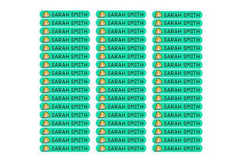 50 Etiquetas Adhesivas Personalizadas, de 6 x 1 cms, para marcar objetos, libros, fiambreras, etc. Color Turquesa