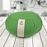 ZAFUKI Cojín Zafu Meditación Yoga Zen Maindfulness - Verde - Desenfundable Sistema cordón - Cubierta algodón 100% - Relleno cáscara espelta