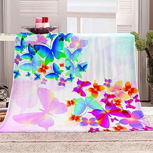 ZZFJFQ Wohndecke Marienkäfer Lila & Schmetterling Blatt Tagesdecke aus weichem Flanell, 3D-Digitaldruck Couch Sofa passend für die ganze Saison 70x100cm