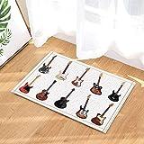 JHTRSJYTJ Amor música decoración Guitarra eléctrica Blanco Antideslizante Estera de la Puerta Alfombra de baño 15.7x23.6in