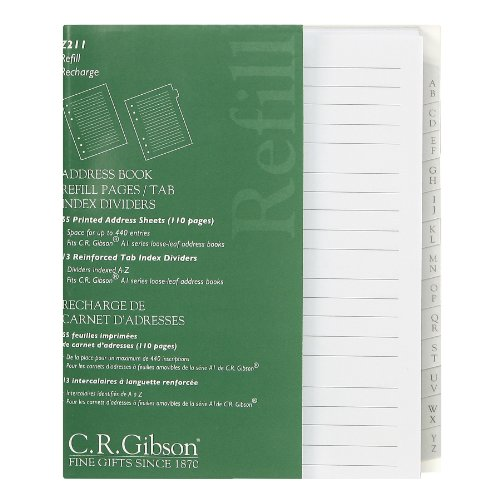 C.R. Gibson Blank Address Book Refills 3 Ring Address Book, 55 pgs.