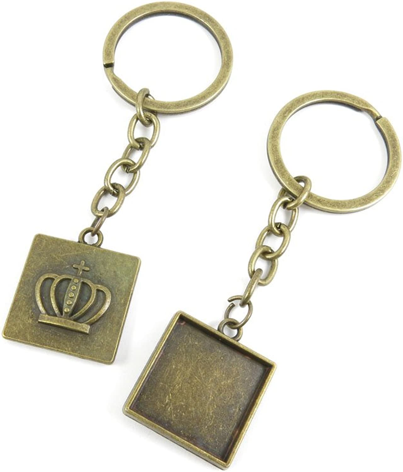 140 Pieces Fashion Jewelry Keyring Keychain Door Car Key Tag Ring Chain Supplier Supply Wholesale Bulk Lots H5HH6 Crown Cabochon Frame Blanks