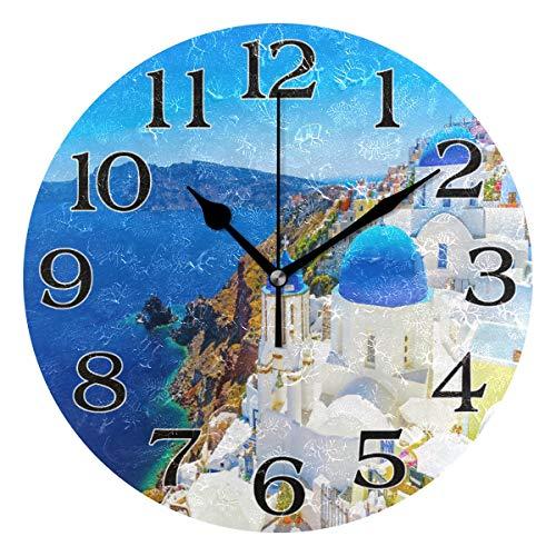 linomo Griechenland Santorini Wanduhr, geräuschlos, Nicht tickend, runde Uhr für Küche, Wohnzimmer, Schlafzimmer, Badezimmer, Büro
