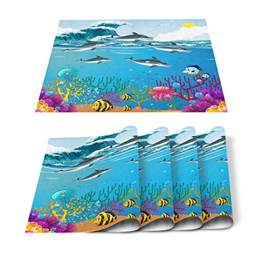 Placemats Set of 4 for Dining Table Cartoon Dolphin Fish Waves Cotton Linen Heat Resistant Mats for Kitchen Table Decoration Washable 18L x 12W