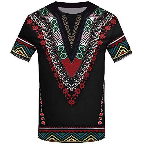 VJGOAL Moda Masculina de Verano Impresión de Estilo étnico Africano Manga Corta Cuello Redondo Top Casual Camiseta de Hombre(Medium,Negro)