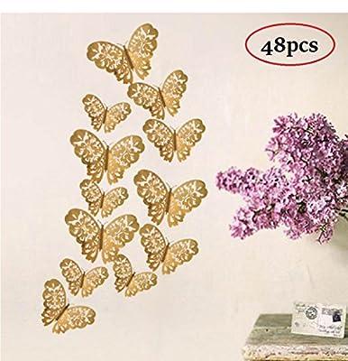 Amaonm 48 Pcs Creative New Desgin 3D Metal Texture Butterfly Wall Decals Removable 3D Nursery Hollow Butterflies Wall Decoration DIY Wall Stickers Home Murals Bathroom Stickers Bedroom art Decor