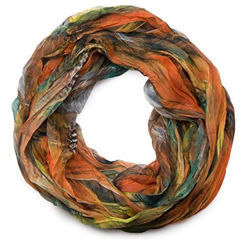 styleBREAKER Feder Muster Batik Style Loop Schlauchschal, Crash and Crinkle, seidig leicht 01016064, Farbe:Orange