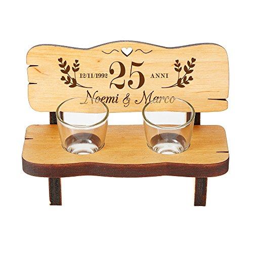 Casa Vivente Panchina per Shot in Legno con 2 Bicchierini da Liquore in Vetro, Incisione Personalizzata Nozze d'Argento con Nomi e Data, 25 Anni Uniti nell'Amore