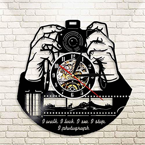 Vinyl Wall Clock - Camera Vinyl Record Clock - Photographer Gifts Idea Theme Best Perfect Home Decor for Photo Lovers Photo Gifts for Man Woman Boys Girls Wall Clock,Style a,12in Without Light
