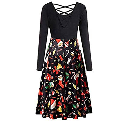 Sufeng Women Sleeveless Christmas Cross Bow Tie Notes Print Vintage Dress Party Dress
